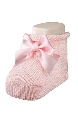 Carlomagno Baby Girl Pink Socks with Bow
