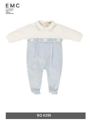 White and Light Blue Baby Boy Babygrow