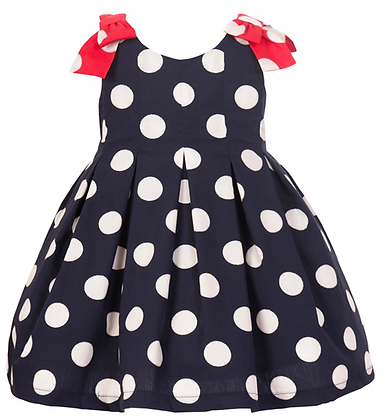 Balloon Chic Girls Navy Blue Dress with Polka Spots