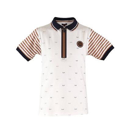 Miranda Boys' Cotton Camel, Navy and White Polo Shirt