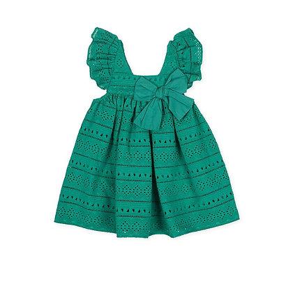 Green Dress Girls Bow Frills