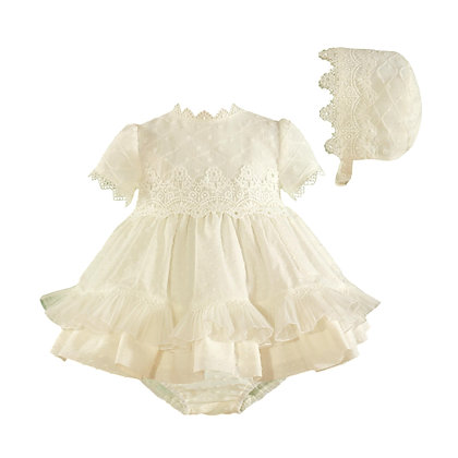 Miranda Baby Girls' Dress with underpants and bonnet