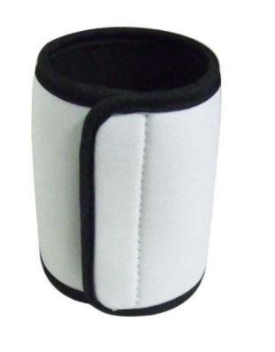 Beverage Insulator Coozie w/Velcro - White w /Black Border