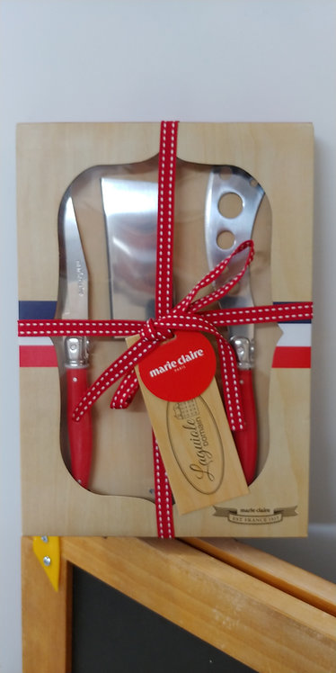 3 piece cheese knife set red