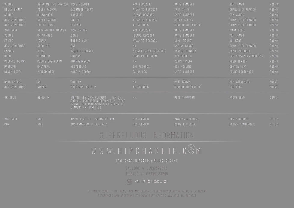 Charlie Hippisley -- Production Design -