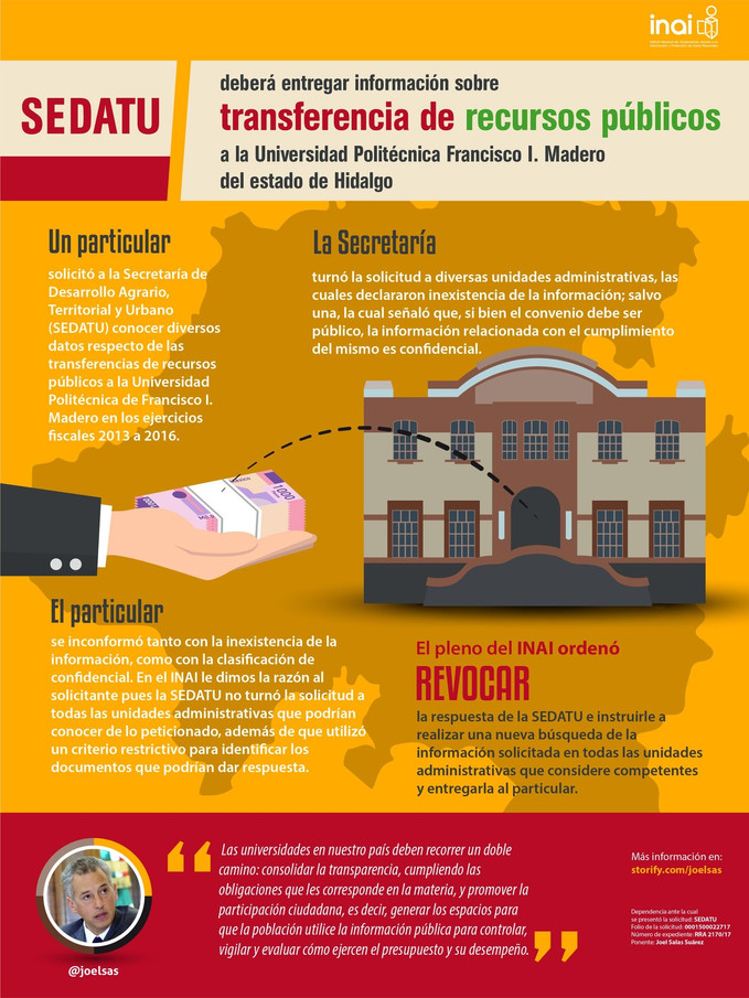 SEDATU debe entregar información sobre transferencia de recursos públicos a la Universidad Politécni