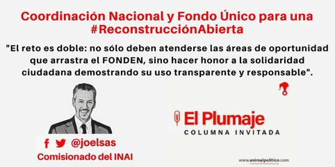 Coordinación Nacional y Fondo Único para una #ReconstrucciónAbierta