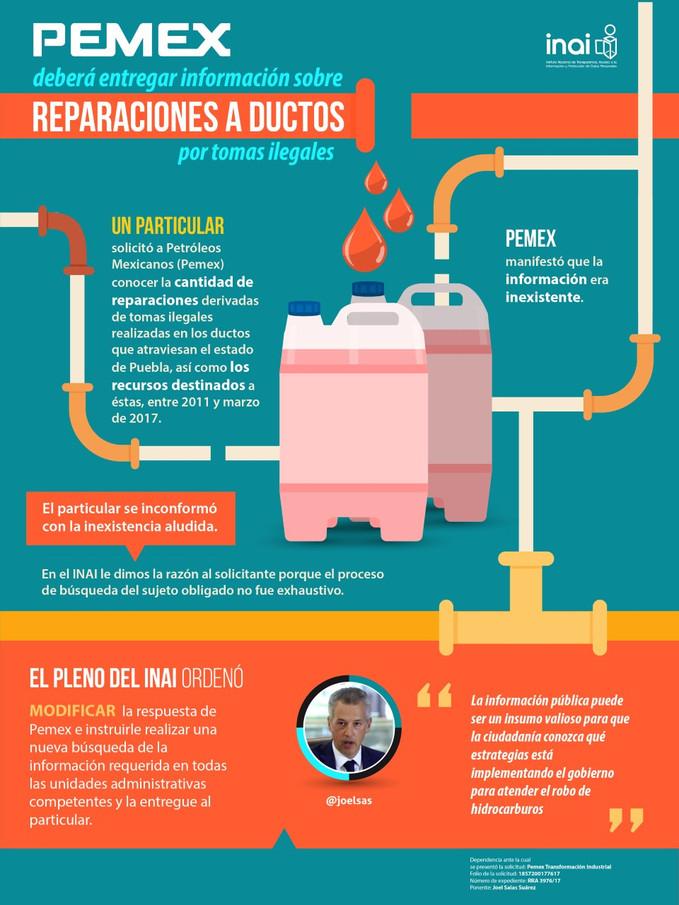 Pemex deberá entregar información sobre reparaciones a ductos por tomas ilegales.