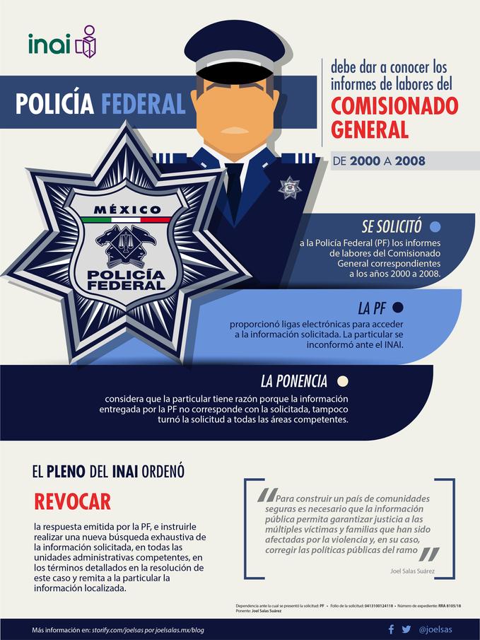 Policía Federal debe dar a conocer los informes de labores del Comisionado General de 2000 a 2008