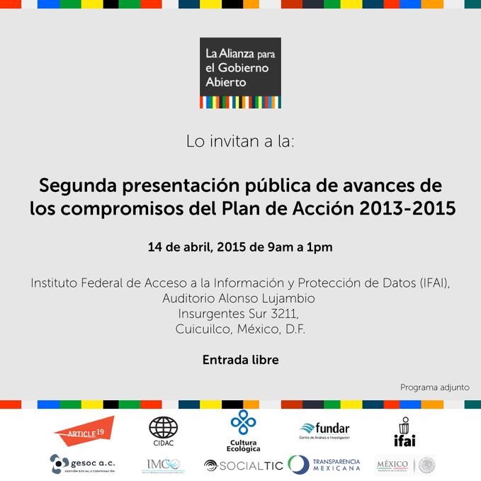 2da Presentación de Avances de los Compromisos del Plan de Acción 2013 - 2015