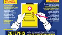 COFEPRIS debe informar sobre acta de verificación sanitaria