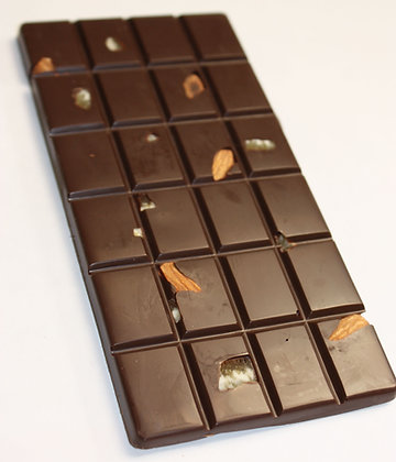 Chocolate Drole 55% Cacao con Naranjas Confitadas y Almendras Tostadas Salada