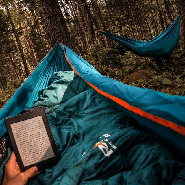 hamac de camping avec moustiquaire dans la foret hiver