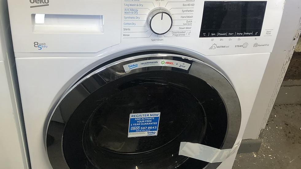 (373) BEKO Ultrafast WDEX854044Q0W Bluetooth 8 kg Washer Dryer - White
