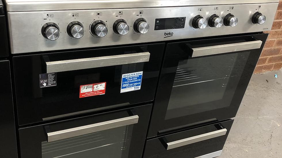 (749) Beko 100cm Electric Range Cooker - KDVC100- Silver