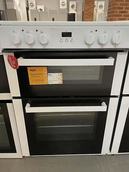 (063) Bush BDBL60ELW 60cm Double Oven Electric Cooker - White