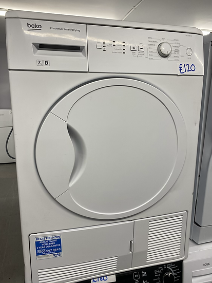 (136) Beko DCU7230W 7kg Freestanding Condenser Tumble Dryer - White