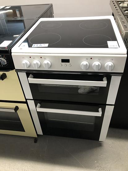 (502) Bush BDBL60ELWX60cm Double Oven Electric Cooker - White