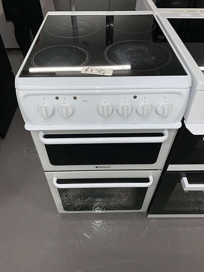 Hotpoint HAE51PS 50cm Double Cavity Electric Cooker -White