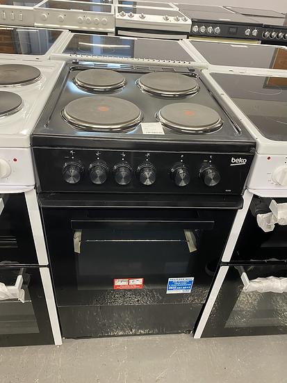 (086) Beko AS530K 50cm Electric Cooker with Solid Plate Hob - Black