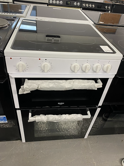 (085) Bush B60TCWX 60cm Twin Cavity Electric Cooker - White