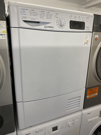 (142) Indesit Eco Time IDCE8450BH 8Kg Condenser Tumble Dryer - White - B Rated