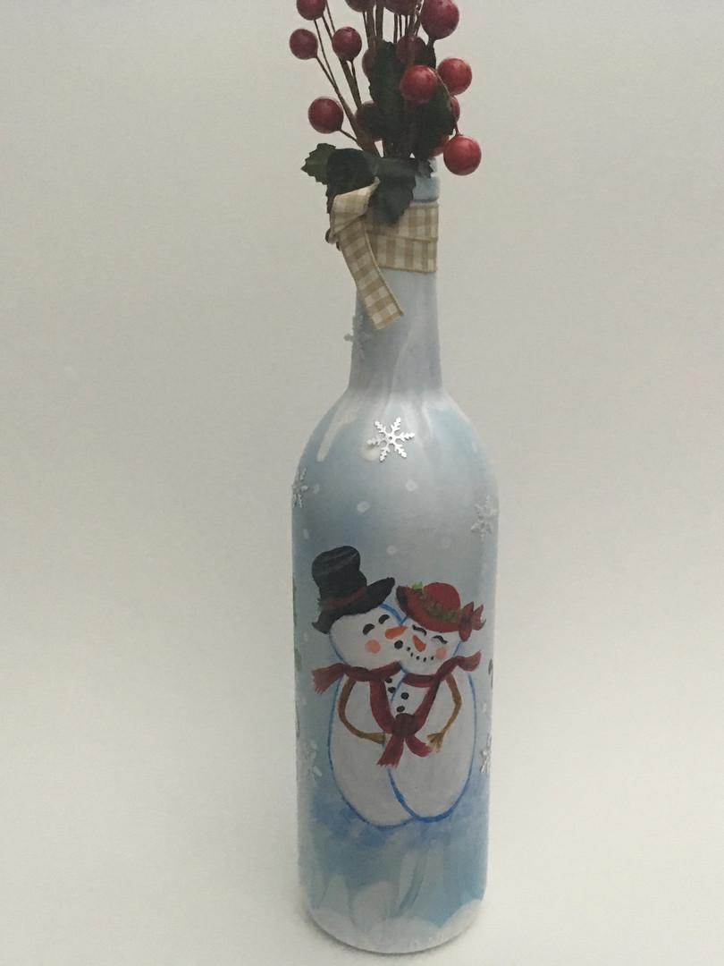 Snow Couple Wine Bottle