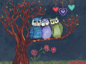This piece features three whimsical woodland owls under the serene glow of the midnight sparkly stars and moonlight. Each eagerly awaits their turn to share their latest stories of adventures and travels! The evening is sure to be a hoot of a good time filled with much laughter, awe and amazement. They will enjoy their get together and one another's companionship while basking in the midnight sparkle.