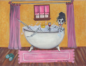 This Senorita is sipping on a nice glass of Sangria while unwinding and enjoying the suds of her bubble bath. I'll rest when I'm dead, she used to tell her friends and family and that's just what she's doing! Besides, what better way to soothe your achy bones than a nice invigorating and hot bubbly bath?