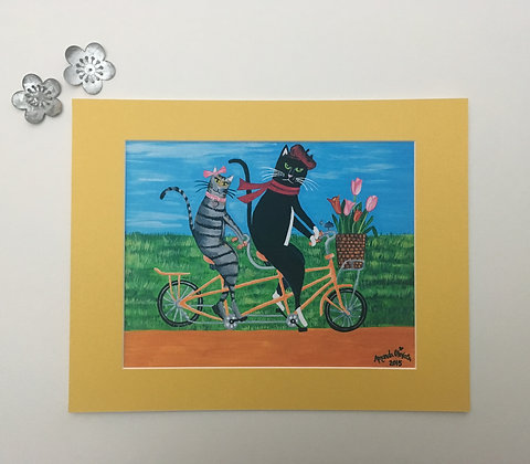 Kitty Cat Outing - Whimsical Art by Amanda Johnson