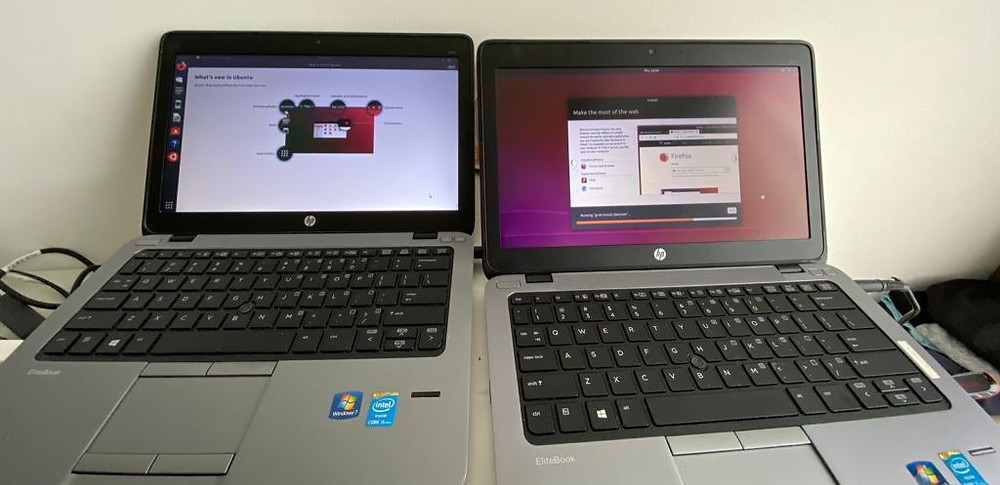 Some of the laptops we donated, reformatted with the free Ubuntu OS