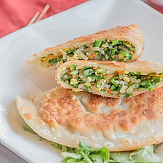 韭菜盒子 Green Chive Pancake (12, cut into 24 pieces)
