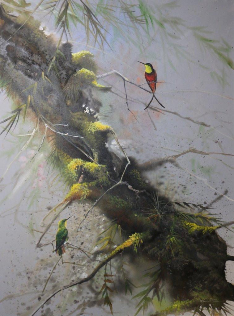 Ruby Topaz Hummingbirds 25x35 Acrylic on