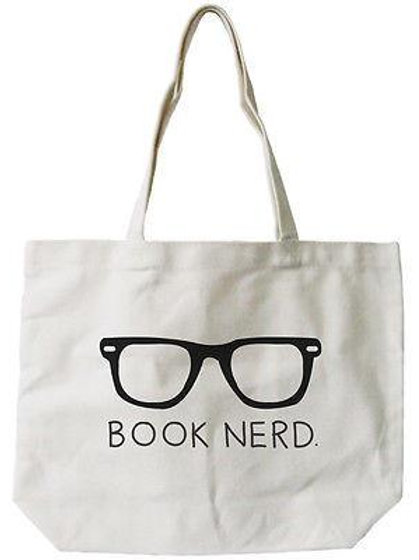 """Book Nerd"" Natural Canvas Tote Bag"