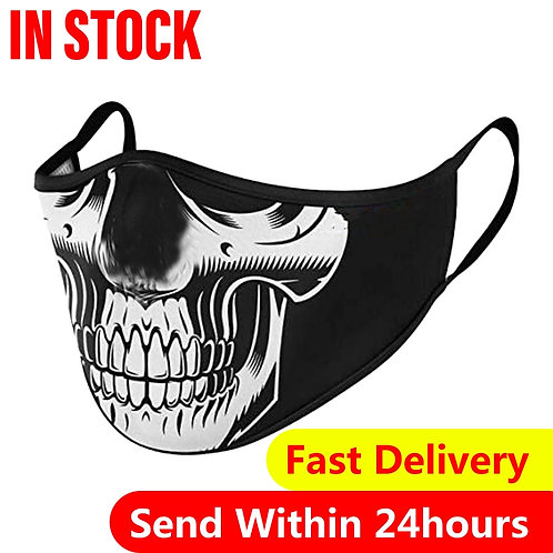 Adult Skull Print Pattern Face Mask with ear loops