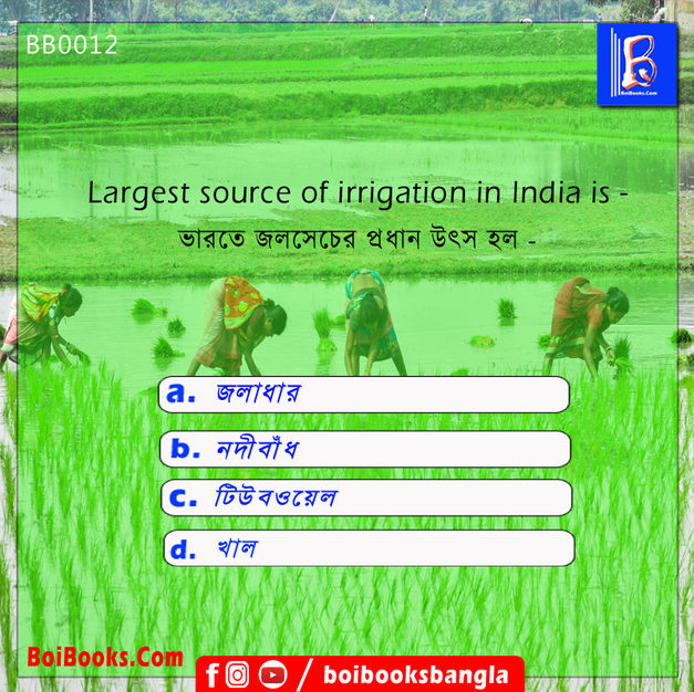 Largest Source of Irrigation in India is | GK Question | GK for WhatsApp | BoiBooks