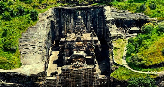 Kailasa Temple was the first temple constructed from a single rock. situated in Ellora Cave, Maharashtra India