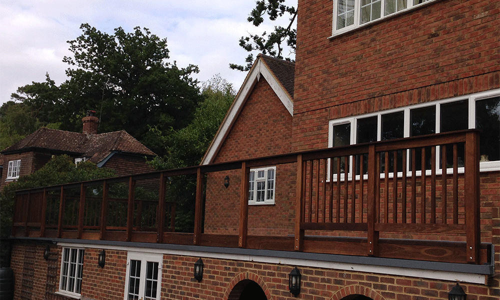 Timber and Glass Balustrade ThermoWood Ash