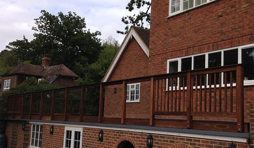 Timber and Glass Balustrade ThermoWood Ash