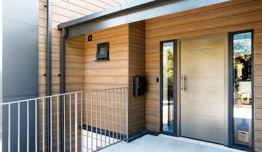 Trespa Composite Cladding Classic Oak Front Door