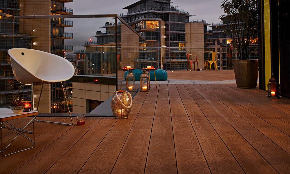 Coppered Oak Millboard Decking Rooftop Bar