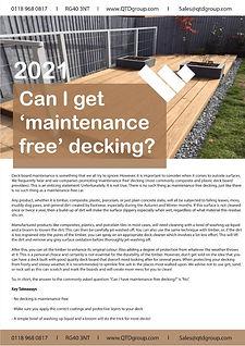 Can I Get Maintenance Free Decking