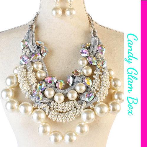 Oversized Iceland Pearls and Rhinestones Necklace Set