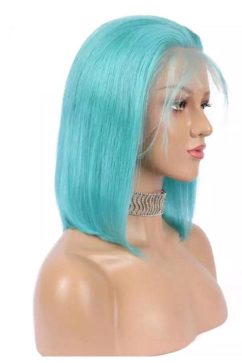 Turqoise Human Hair Lacefront Bob Wig