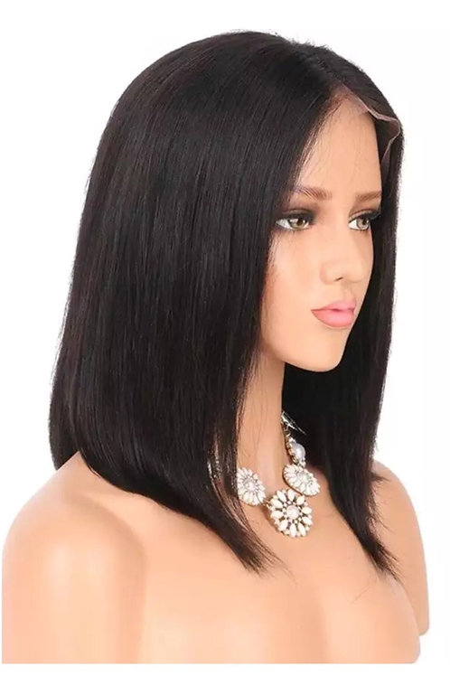 Natural Black Human Hair Lacefront Bob Wig