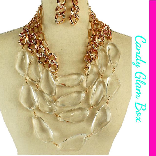 Crystal Beads Chunky Multi-Layer Set