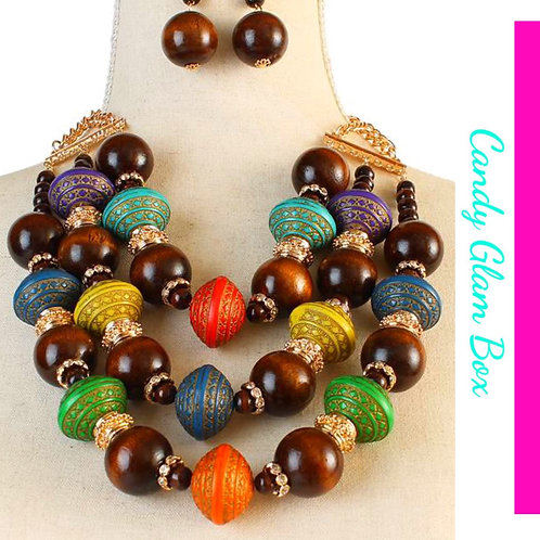 Multi-Colored Triple Necklace Set