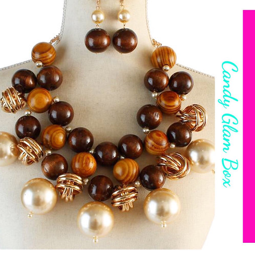 Oversized Wooden, Gold, and Pearls Necklace Set-SOLD OUT
