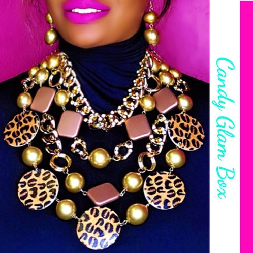 Animal Print Safari Gold Pearls Set