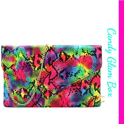 Multi-Color Snake Skin Clutch